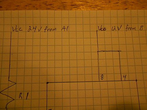 Image: Modified circuit detail - A1 positive to the RC circuit, B1 positive to the IC input pin...