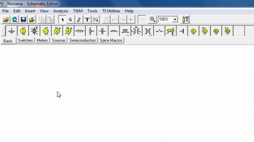 Image: The opening screen of circuit simulation program TINA-TI...