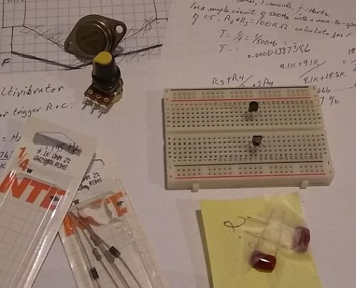 Image: A few of the parts for the Transistor Astable Multivibrator...