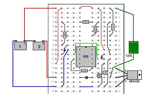 Image: The first Alexkor battery charger circuit breadboard diagram, from A Practical Guide to Free-Energy Devices by Patrick J. Kelly...