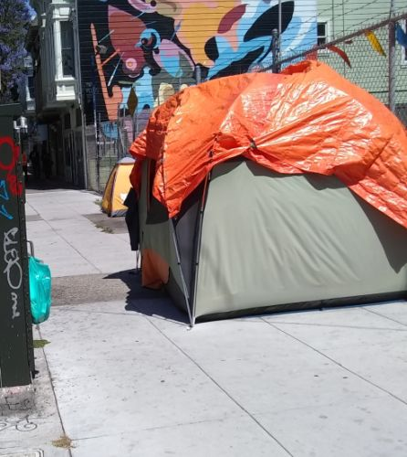 Image: One of many unhoused dwellings somewhere in the Mission......